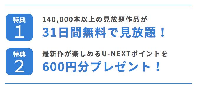 U-NEXT<ユーネクスト>の無料体験