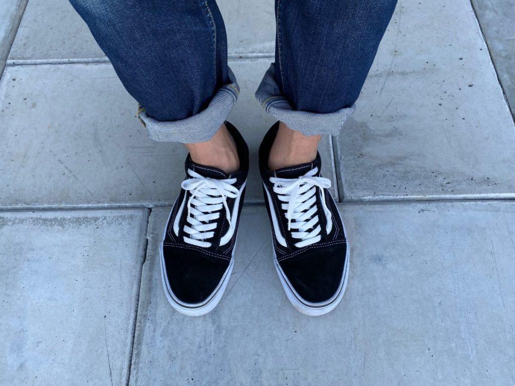 無印良品 フットカバー 靴を履いた状態 正面