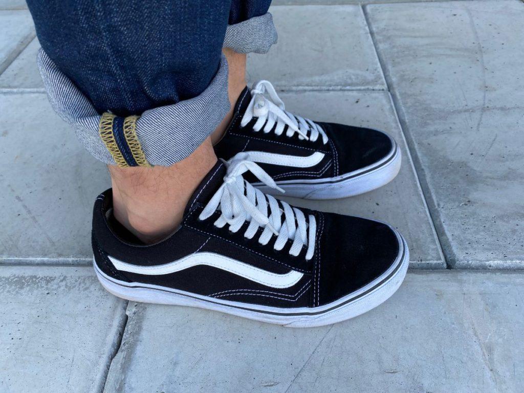 無印良品 フットカバー 靴を履いた状態 サイド