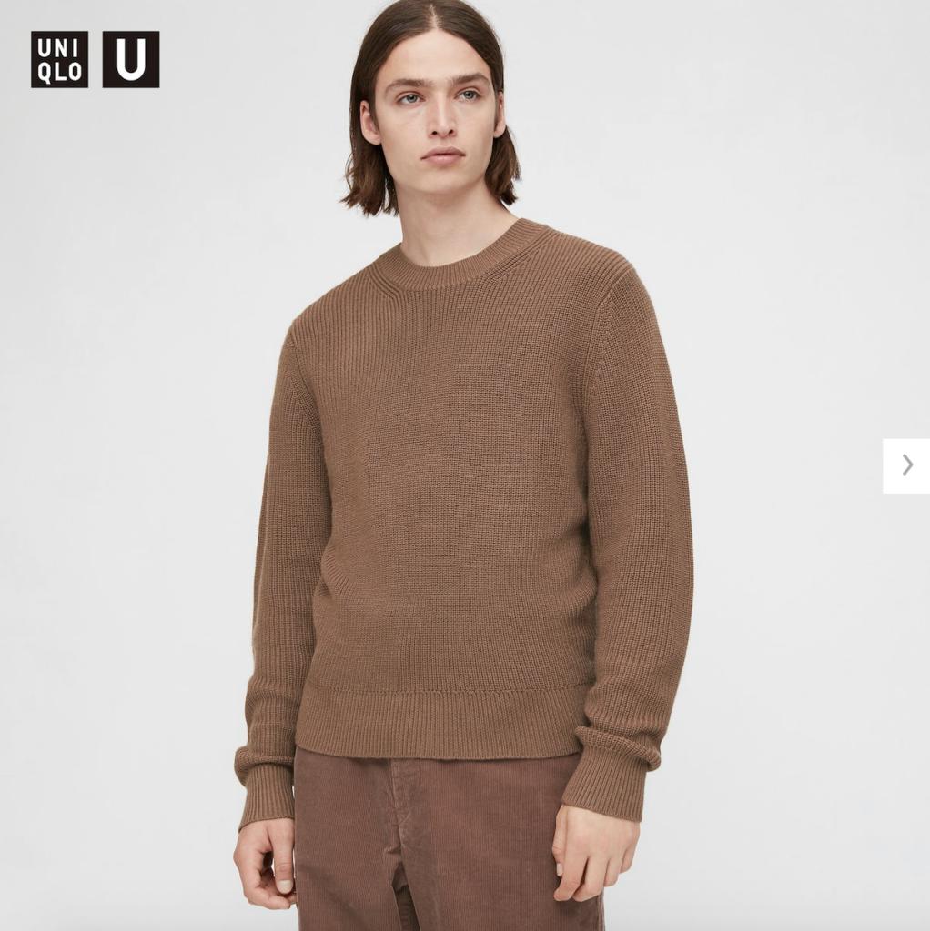 ユニクロU リブクルーネックセーター(長袖)